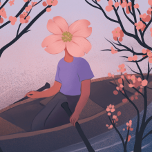 Illustration of a woman with a cherry blossom covering her face as she floats down a stream in a canoe.