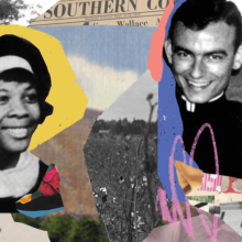 A photo collage that includes a portrait of Ruby Sales and Jonathan Daniels.