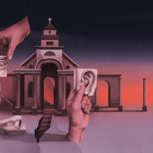 Abstract illustrations of ears, hands, and a church building in a sinister red.