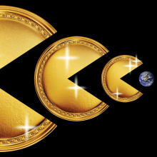 Three large cold coins are lined up, each shaped like Pac Man. They are facing a small globe that looks like Earth, as if they are going to consume it.