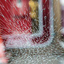 Broken glass that looks like a spider web.