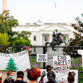 Protesters gather at the White House on July 24, 2020.
