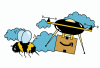 An illustration of a bumble bee flying in the sky next to an Amazon drone carrying a package.