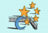 Illustration of the Islamic crescent and stars separated by a barbed wire fence
