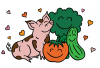 An illustration of a pig, a tomato, and a cucumber with smiles on their faces all hugging each other.
