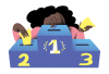 An illustration of a girl placing a ballot into a #1 box, with boxes #2 and #3 to the sides.
