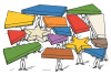 Illustration of people holding up stars and colorful building blocks.