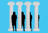 Greek columns with a silhouette of Vice President Kamala Harris.