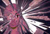 A graphic of a women with her eye wide open and shoots of purple light coming from behind her.