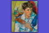 In this Chloe Wise painting, a man is hugging and touching the hand of a person with sterility gloves and purrell hand sanitizer..